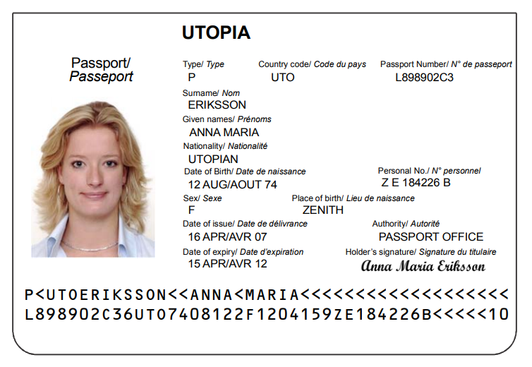 Example of the page of a visa that shows the machine-readable zone.