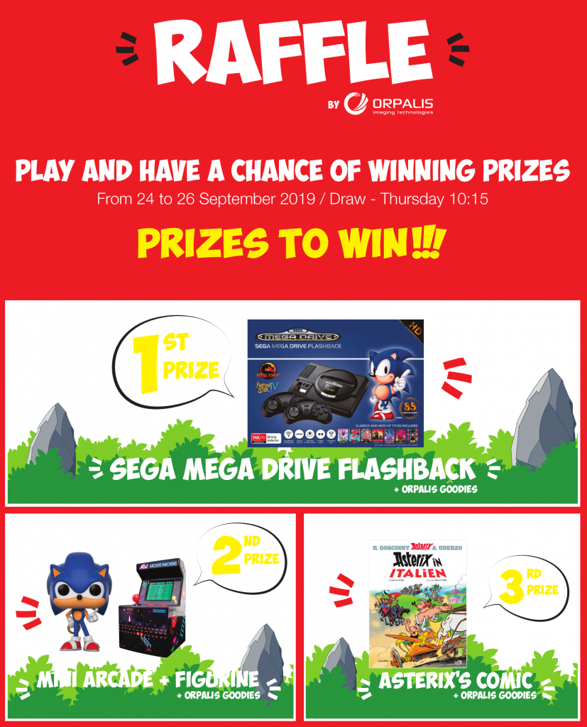 images of the prizes to win: Sega Mega Drive, mini arcade game, Sonic figurine, Asterix comics, ORPALIS goodies.