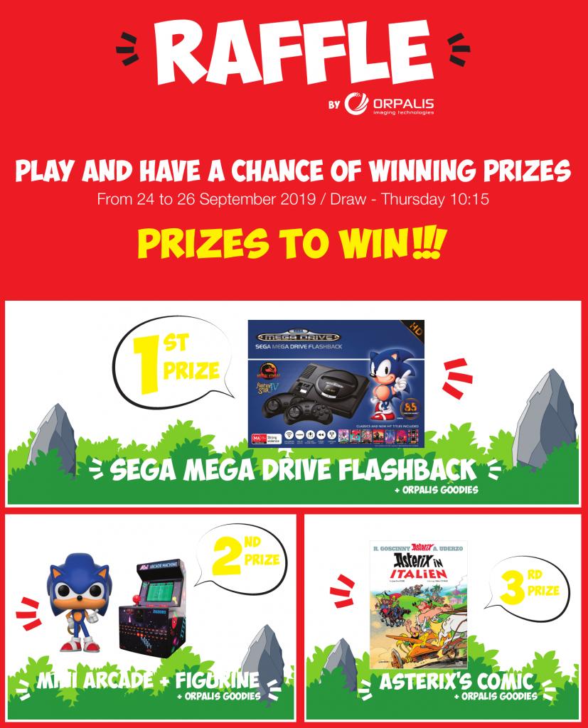 images of the prizes to win: Sega Mega Drive, mini arcade game, Sonic figurine, Asterix comics, ORPALIS goodies.