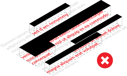 This is an illustration of a wrong PDF redaction process. Adding overlying black rectangles won't prevent people from unveiling hidden contents.